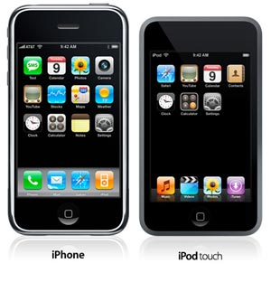Apple iPod Touch, iPhone